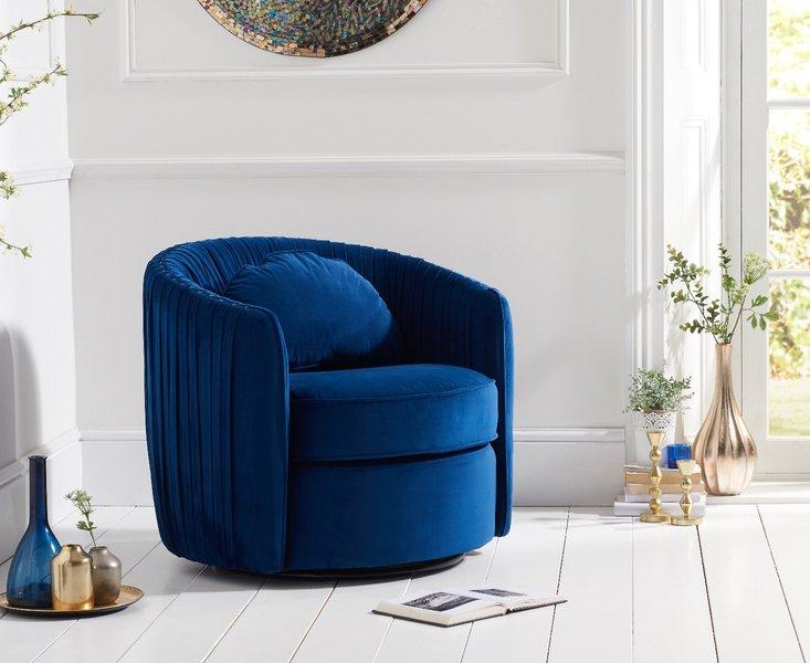 Photo of Sarah blue velvet swivel chair