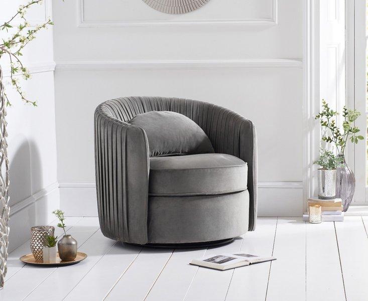 Photo of Sarah grey velvet swivel chair