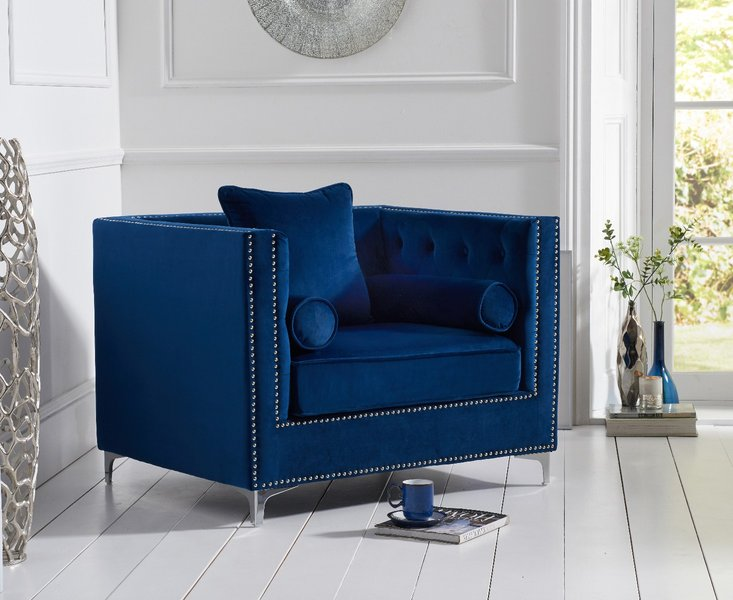Photo of New york blue velvet armchair