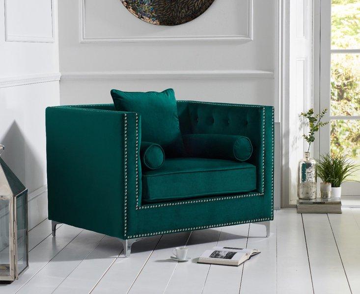 Photo of New york green velvet armchair