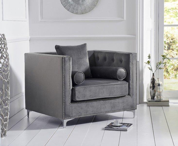 Photo of New york grey velvet armchair