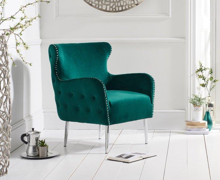 Photo of Basil green velvet accent chair