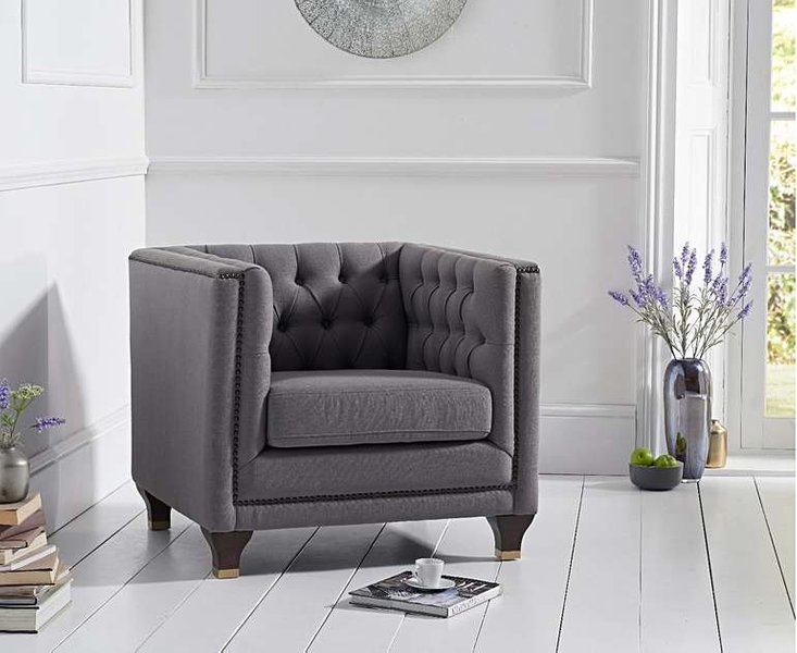 Photo of Ex-display parker grey linen armchair