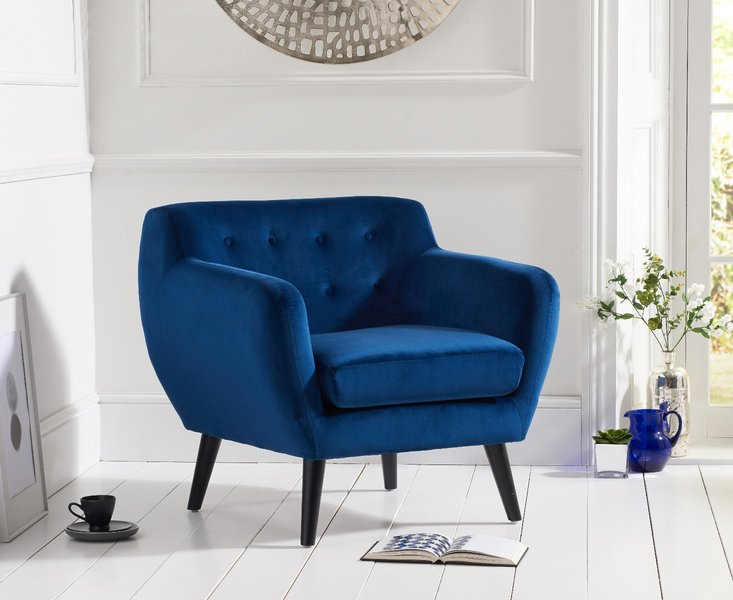 Photo of Tim blue velvet accent chair