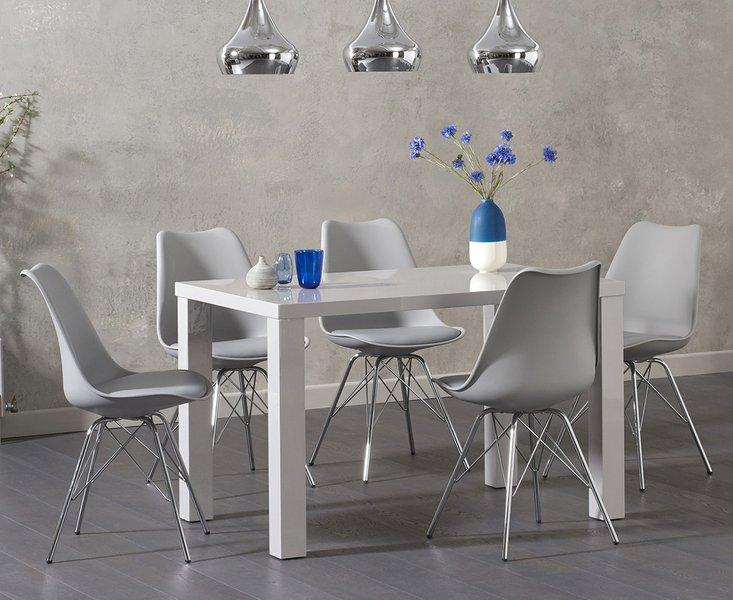 Photo of Atlanta 120cm light grey high gloss dining table with celine chrome leg chairs