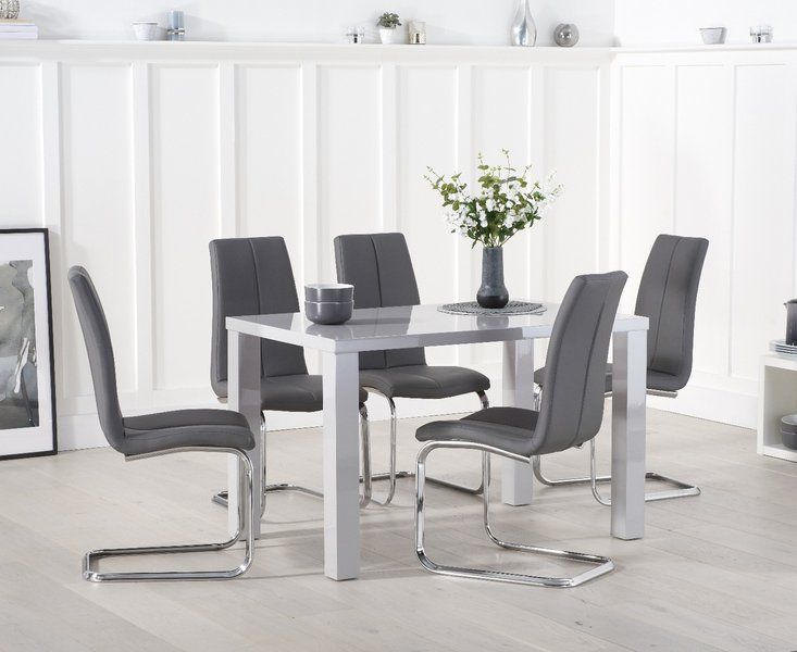 Photo of Atlanta 120cm light grey high gloss dining table with tarin chairs