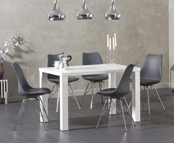Photo of Atlanta 120cm white high gloss dining table with celine chrome leg chairs