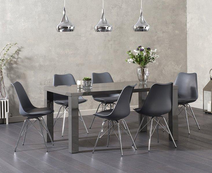 Photo of Atlanta 160cm dark grey high gloss dining table with celine chrome leg chairs