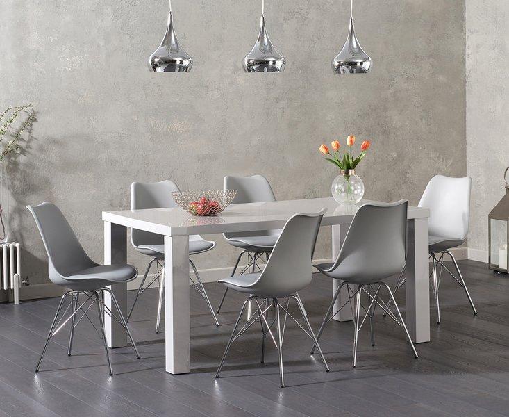 Photo of Atlanta 160cm light grey high gloss dining table with celine chrome leg chairs