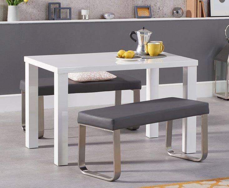 Photo of Atlanta 120cm white high gloss dining table with atlanta grey benches