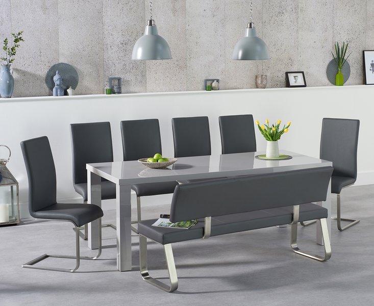 Photo of Atlanta 200cm light grey high gloss dining table with malaga chairs and malaga large grey bench