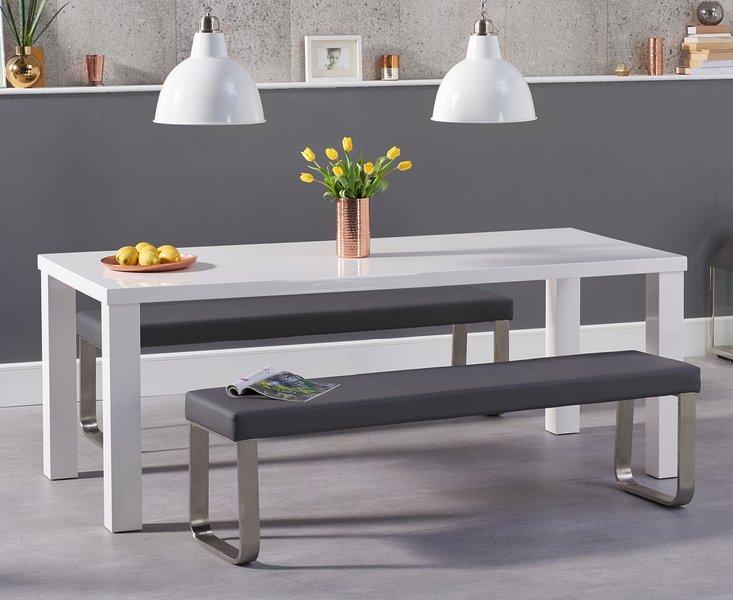 Photo of Atlanta 200cm white high gloss dining table with atlanta benches