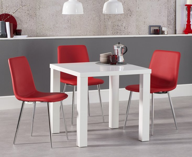 Photo of Atlanta 80cm white high gloss dining table with helsinki faux leather chairs