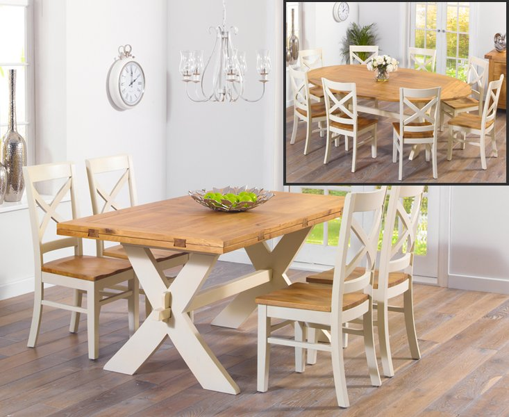 Photo of Bordeaux 165cm oak and cream all sides extending table with cavendish chairs - cream- 4 chairs