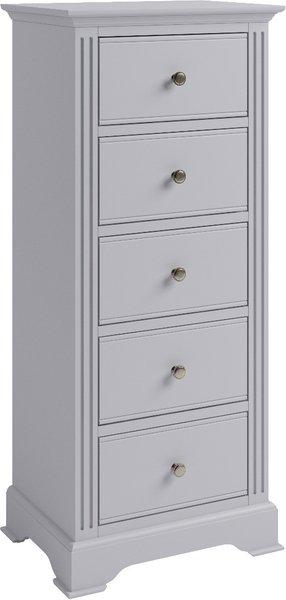 Photo of Aubrey grey 5 drawer narrow chest