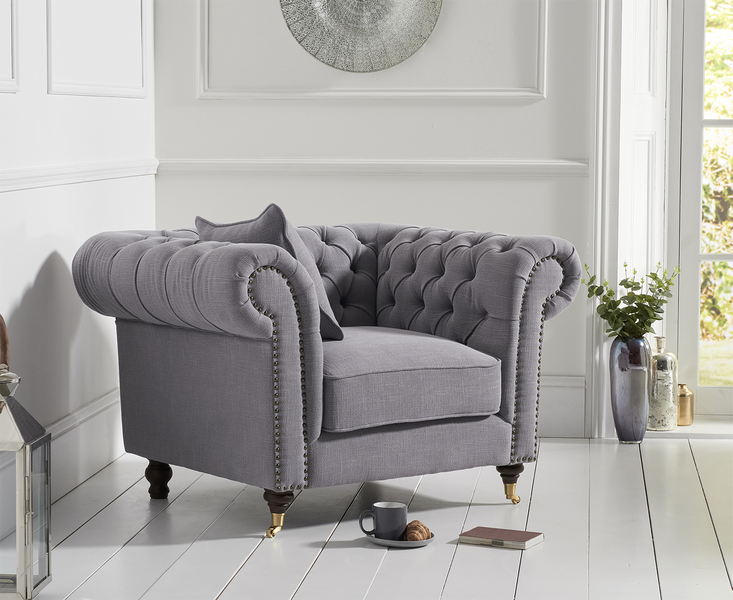 Photo of Carrara chesterfield grey linen armchair