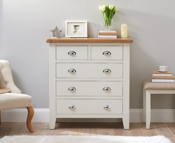 Photo of Eden oak and white 2 over 3 chest of drawers
