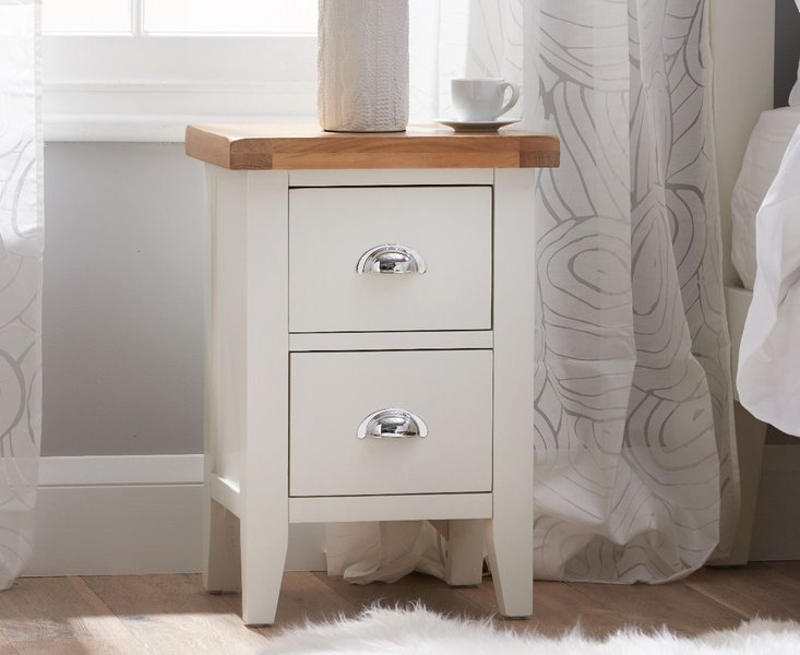 Photo of Eden oak and white 2 drawer bedside table