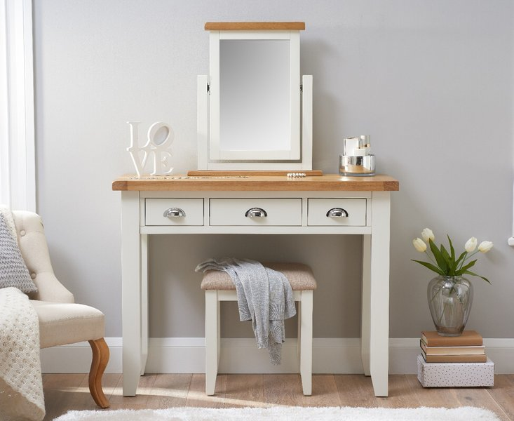 Photo of Eden oak and white dressing table