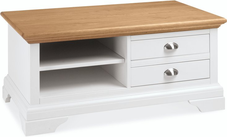 Heronford oak and ivory two drawer coffee table