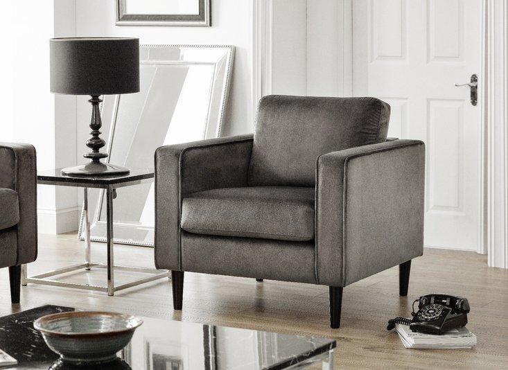 Photo of Hazel grey velvet armchair