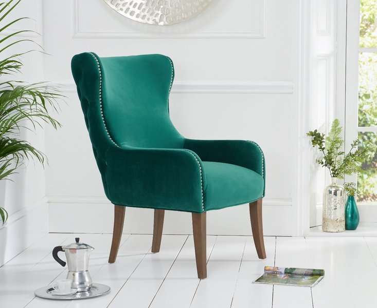 Photo of Linda green velvet accent chair