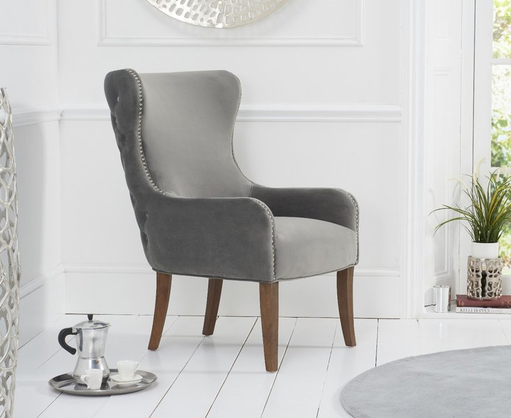 Photo of Linda grey velvet accent chair