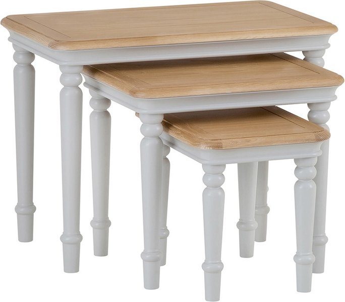 Photo of Holly nest of 3 oak and grey tables