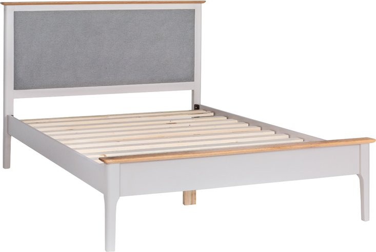 Photo of Daniella oak and grey double bed frame with fabric headboard
