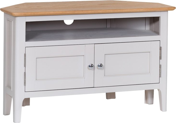 Photo of Daniella oak and grey corner tv unit