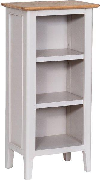 Photo of Daniella oak and grey small narrow bookcase