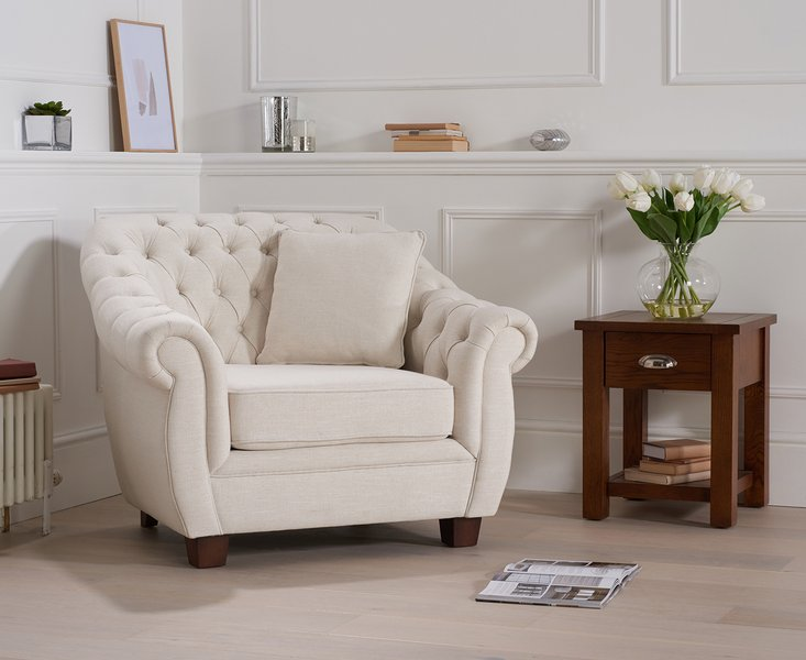 Photo of Lilly chesterfield ivory linen fabric armchair