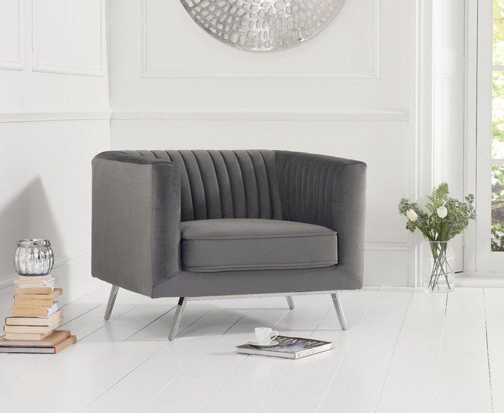 Photo of Danube grey velvet armchair