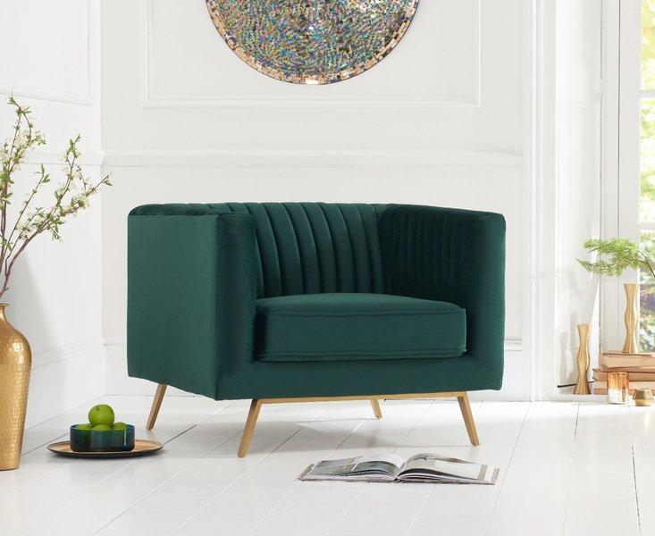 Photo of Danube green velvet armchair