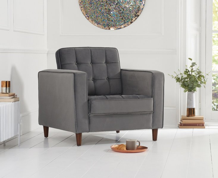 Photo of Rhine grey velvet armchair