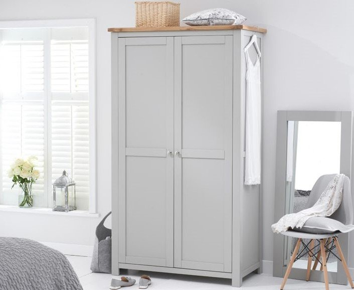 Photo of Somerset oak and grey two door wardrobe