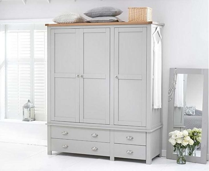 Photo of Ex-display somerset oak and grey 3 door 4 drawer wardrobe