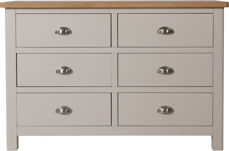 Photo of Fay oak and grey 6 drawer chest