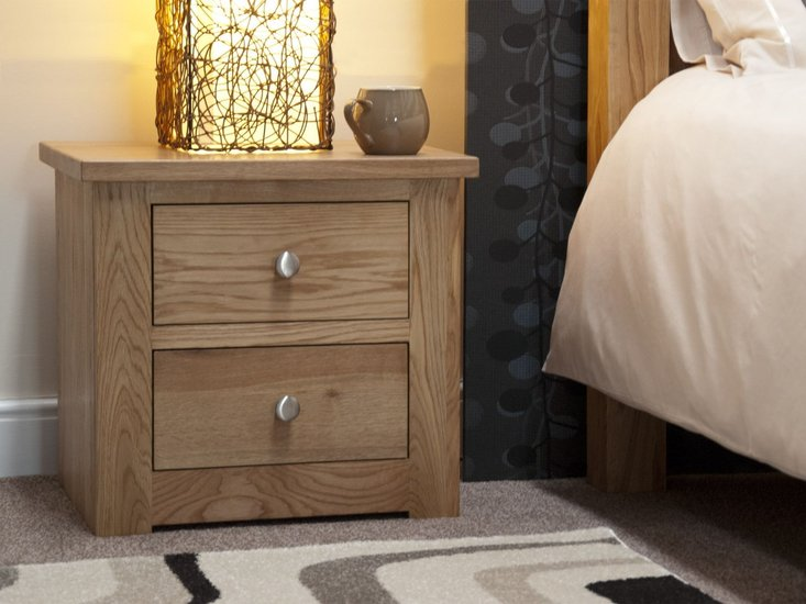Photo of Messina oak two drawer bedside chest