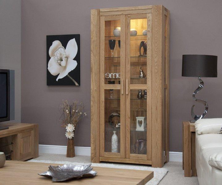 Photo of Milan 190cm oak glazed display cabinet