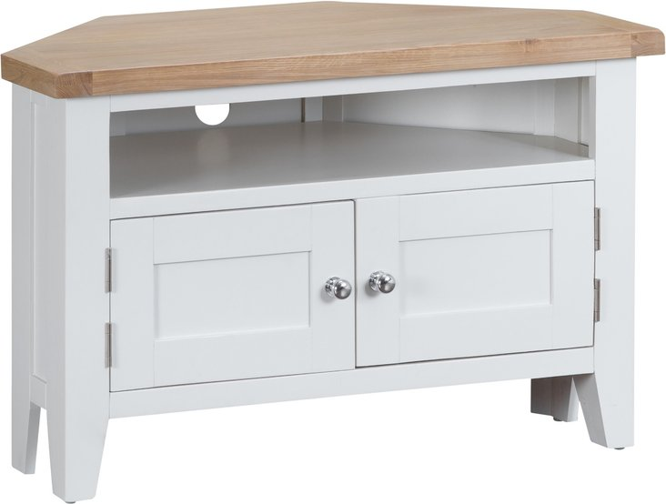 Photo of Eden oak and white corner tv unit