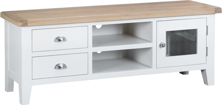 Photo of Eden oak and white large tv unit