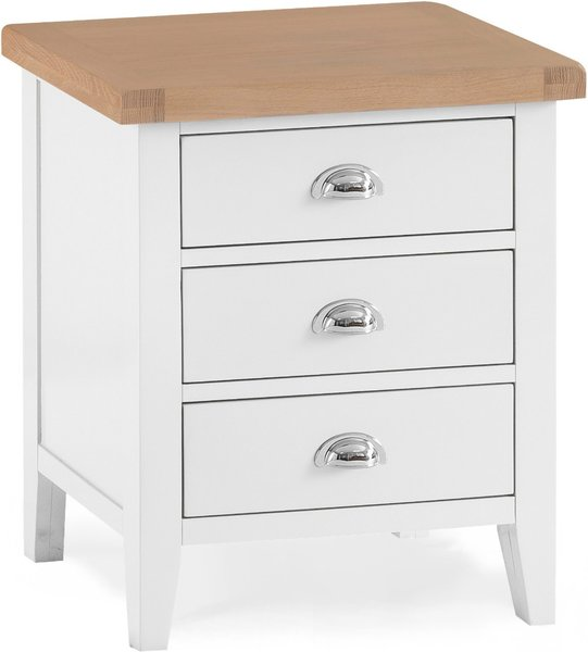 Photo of Eden oak and white extra large 3 drawer bedside table