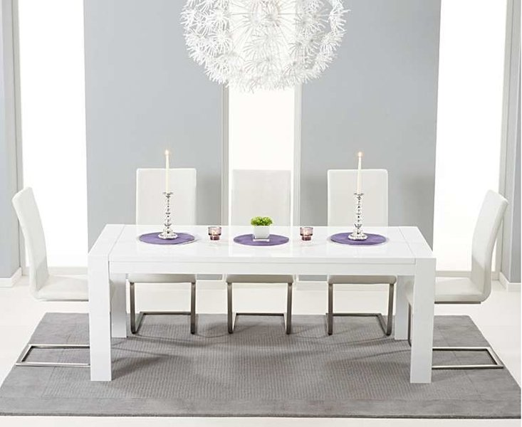 Photo of Ex-display venice 200cm white high gloss extending dining table with 4 white malaga chairs