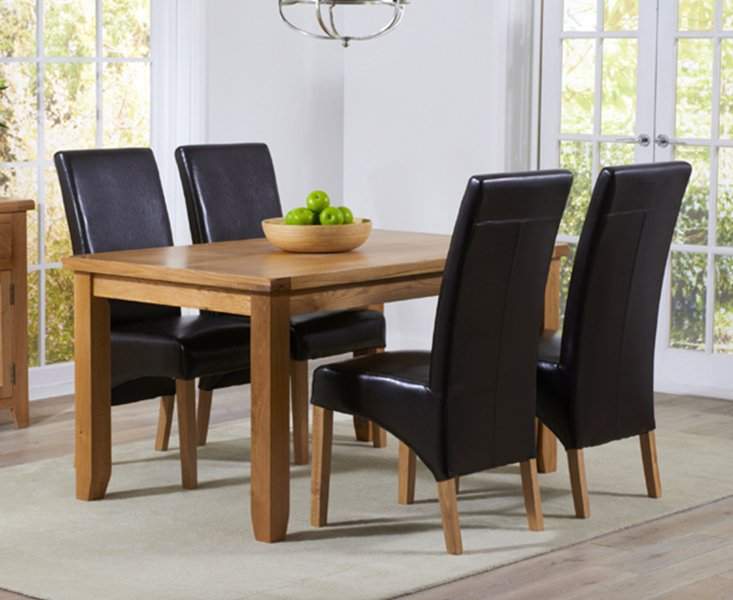 Photo of Yateley 140cm oak dining table with cannes chairs - grey- 4 chairs