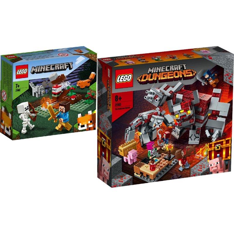 LEGO® Minecraft(tm) 2er Set: 21162 Das Taiga-Abenteuer + 21163 Das Redstone-Kräftemessen