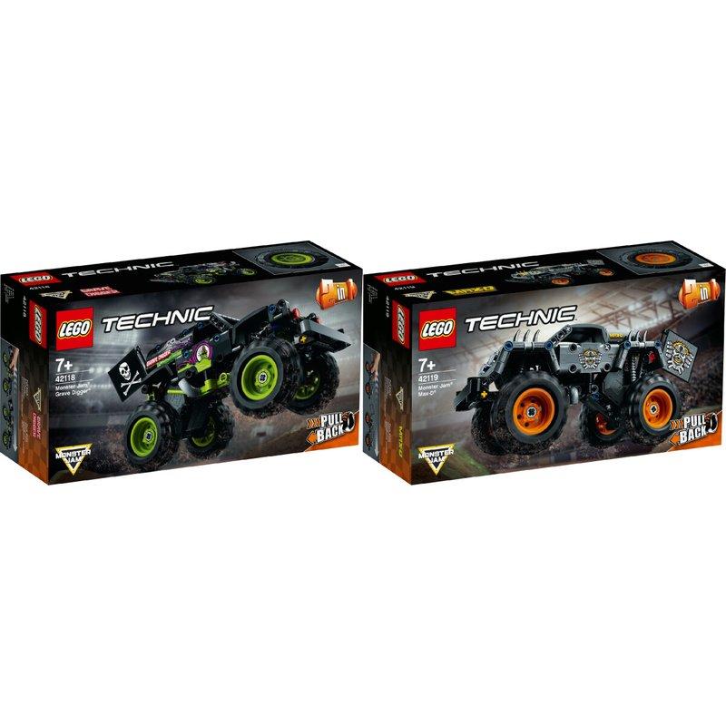 LEGO® Technic 2er Set: 42118 Monster Jam®  Grave Digger® + 42119 Monster Jam® Max-D®