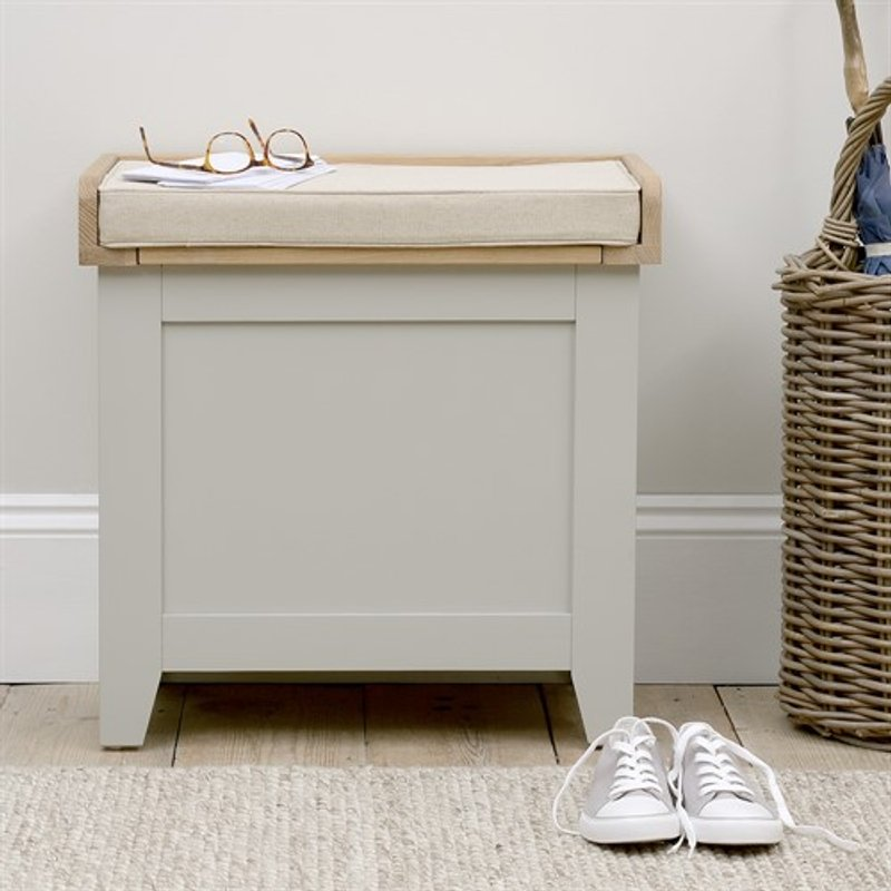Photo of Chester Dove Grey Small Shoe Storage Trunk Bench