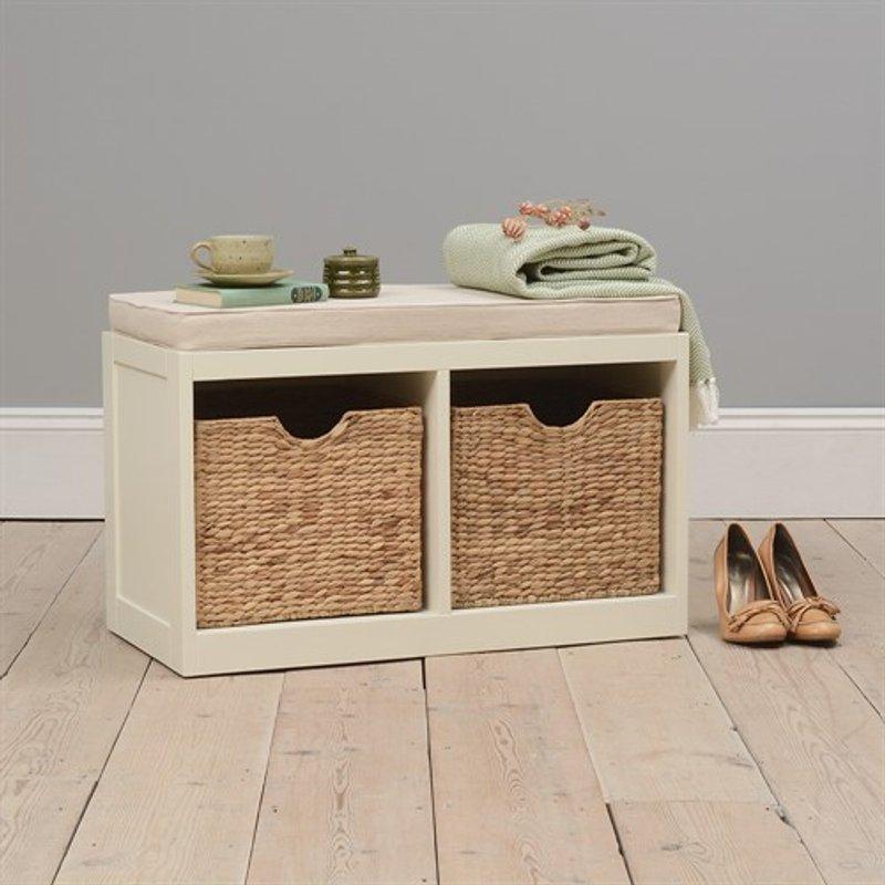Photo of Farmhouse Painted 2 Basket Modular Bench - Ivory