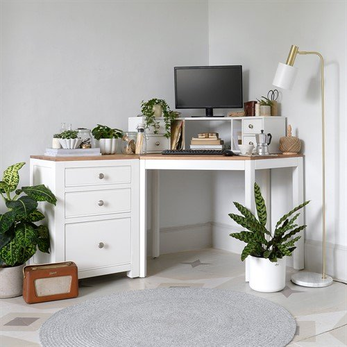 Photo of Chalford Warm White Corner Desk With Topper And Filing Cabinet
